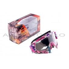 Очки кроссовые   MOTSAI   (бело-лиловые, ремешок бело-лиловый, прозрачное стекло), шт