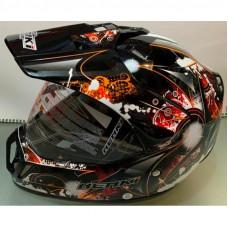 Шлем кроссовый NENKI MX-310 чёрно-оранжевый