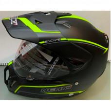 Шлем кроссовый NENKI MX-310 чёрный мат с лимонной полоской