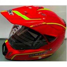 Шлем кроссовый NENKI MX-310 красный с лимонной полоской