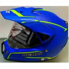 Шлем кроссовый NENKI MX-310 синий мат с лимонной полоской