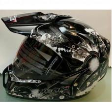 Шлем кроссовый NENKI MX-310 чёрный с рисунком